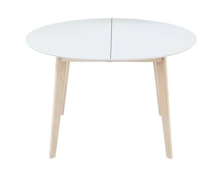 DesignEsstisch rund ausziehbar Weiß und Holz L120150