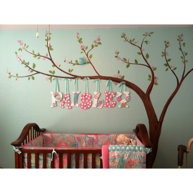 Like the name hanging from the tree.  Probably not pink for a boy though.  =)
