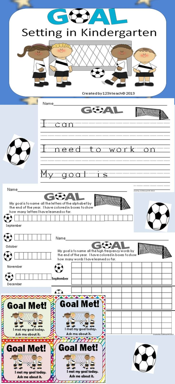 Teach your students how to set goals for the new year. Students will be able to track their own success as they learn new letters, letter sounds, high frequency words, counting, and writing numbers. They will be able to see their own growth over time with these graphs to show their progress.