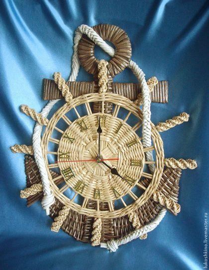 Часы для дома ручной работы. Ярмарка Мастеров - ручная работа. Купить Часы Якорь. Handmade. Бежевый, штурвал, плетение из бумаги