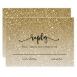 Gold Glitter Script Reply Card #weddinginspiration #wedding #weddinginvitions #weddingideas #bride