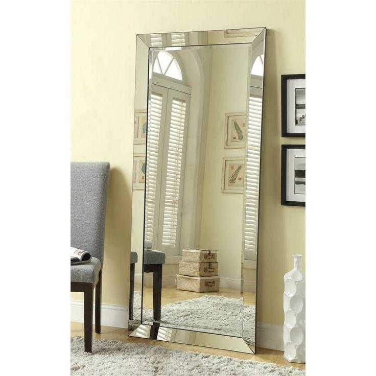 Coaster Contemporary Floor Mirror in Silver - 901813