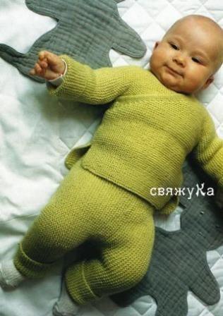 костюм для малыша вязаный спицами