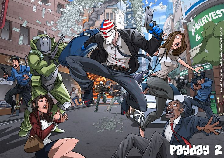 Payday 2 Fan art by jennyisdrawing on DeviantArt (The Saturday Morning Cartoon for aspiring heisters)
