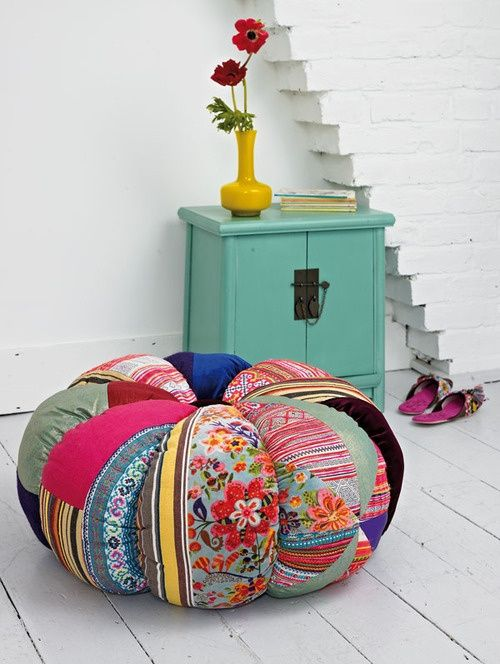 Plumo large patchwork pumpkin pouf (It reminds me of a tomato pincushion & in all red with an attached strawberry would be the perfect addition to a sewing room!)