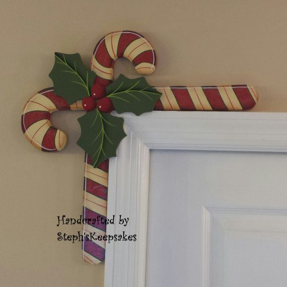 Hand Painted Candy Canes Door Huggers. Handpainted Christmastime, Holidays, Christmas, Santa, Home Decor,Decoration, Steph'sKeepsakes
