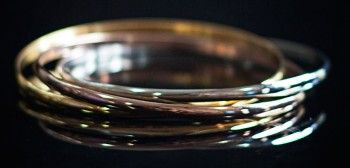 A pretty trio of stainless steel bangles in the traditional Russian wedding style of yellow, rose and white gold. Only AUD$50! Shop it here: http://925andco.com.au/shop/shop/russian-wedding-bangles/