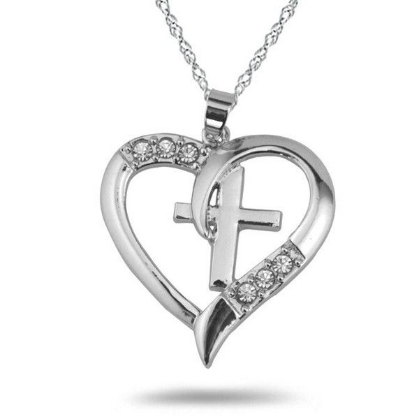 11 best jewelry with meaning images on pinterest cross necklaces silver christian cross heart pendant i love jesus necklace aloadofball Gallery