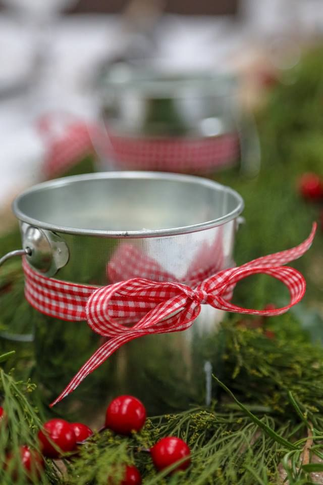 Fabulous and festive red gingham Christmas candles in tin buckets.