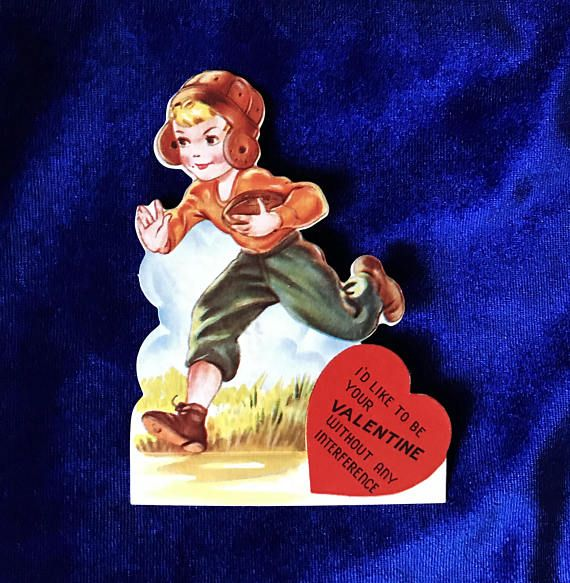 1930's valentine football player card. We love this illustration of an old football uniform. In excellent condition. Signed in pencil on the back. Measures 4 inches tall by 3 inches wide. This is a wonderful card for a valentine collector or for someone who collects vintage football