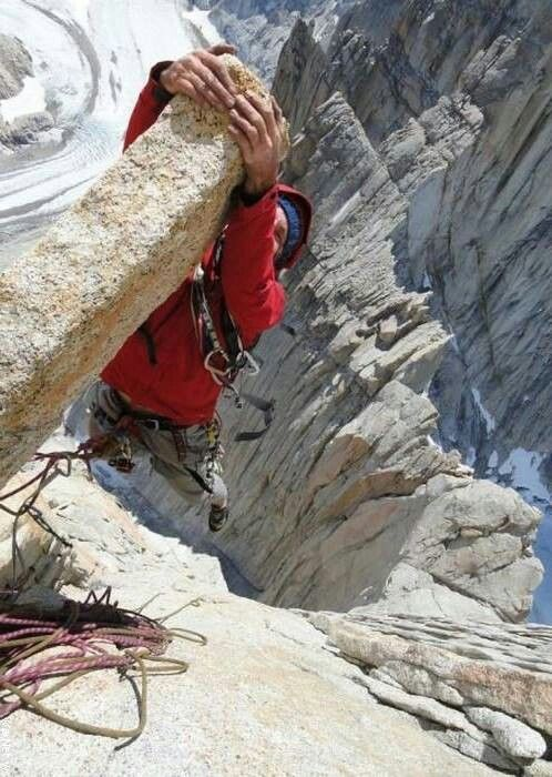 """I dare you to hang out on the end of that thing"".  Never dare a climber.... #EstrogenArmy #AdventureDivas #adventure  http://estrogenarmy.com"