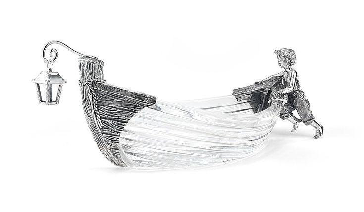 """Блюдо из серебра и хрусталя для морепродуктов """"Юный рыбак"""""""