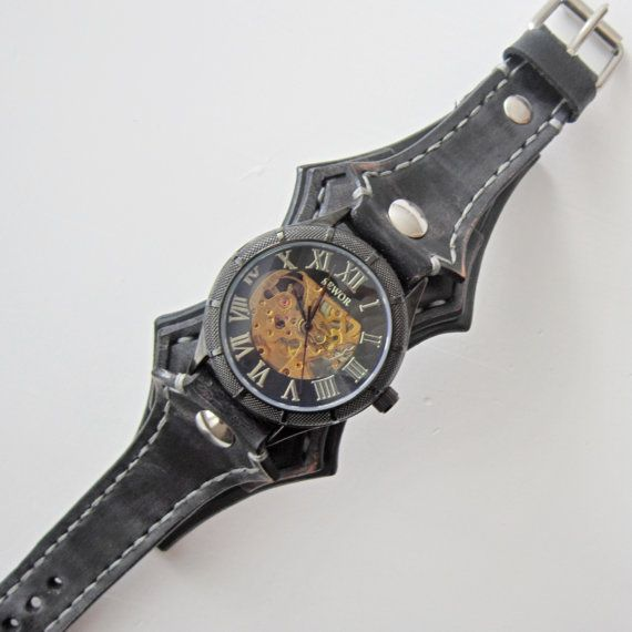 Steampunk Leather Watch Vintage Black Leather by loversbracelets
