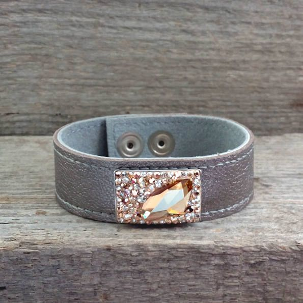 Real Leather Bracelet with Golden Swarovski Crystals by SteelJewelryShop on Etsy