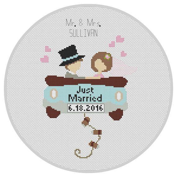 Custom Wedding Cross Stitch Pattern PDF Wedding car by Xrestyk