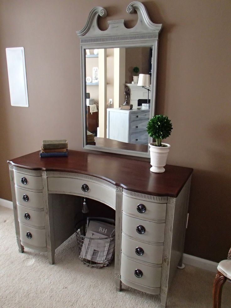 Bedroom. Gray Stained Wooden Vanity Dressing Table With Dark Brown Wooden Top And Single Mirror Also Nine Drawers With Chrome Metal Handle With Mirrors Plus Console Tables. Luxurious Bedroom Interior Design With Mirrored Vanity Dressing Table