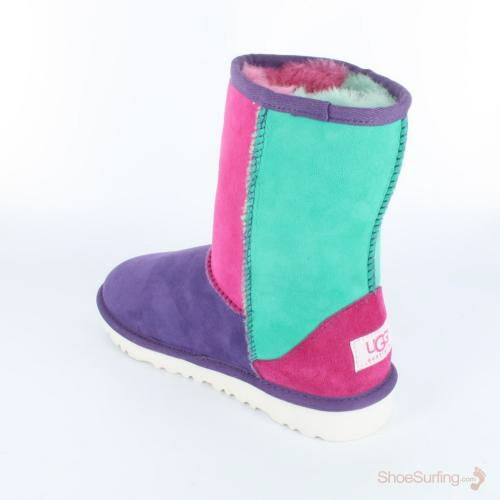 Discontinued UGG Boots Sale | UGG Australia Classic Patchwork Neon Toddlers Boot | Things to Wear | Pinterest.