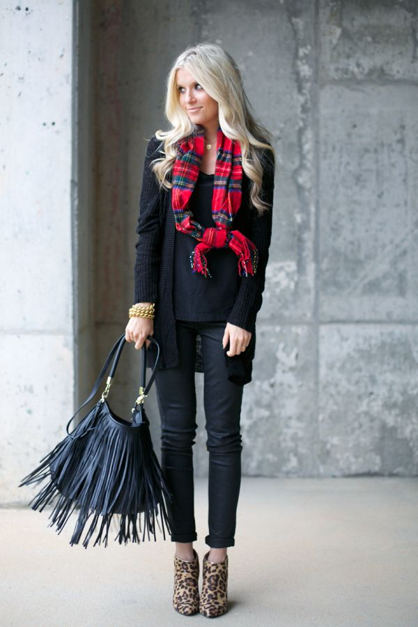 Leopard & Red Plaid - favorite combination. via Pink Pistachio