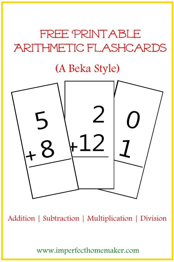 Free Printable Math flashcards - Addition, Subtraction, Multiplication, Division (A Beka style)