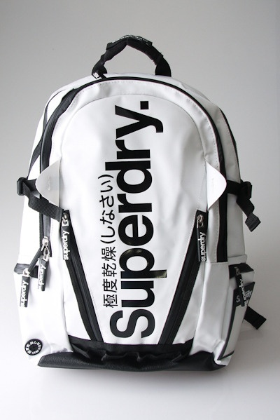 Logo Backpack in White & Black by Superdry
