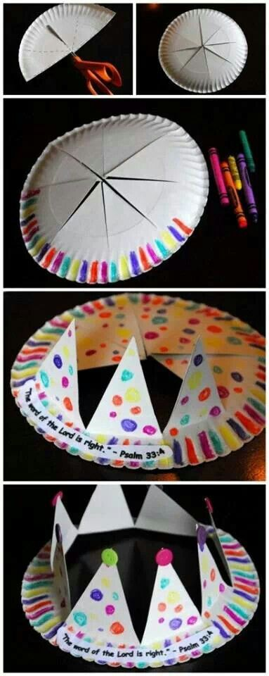 Make a crown out of a paper plate and decorate it!                              …
