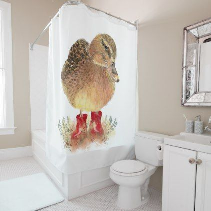 Cute Little Duck in Red Rubber Boots Fun Shower Curtain - animal gift ideas animals and pets diy customize