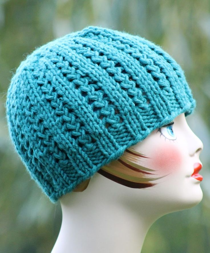 Free Knitting Pattern for  2 Row Repeat Rickrack Braid Hat - This easy hat from Balls to the Walls Knits features an easy 2 row eyelet braid pattern after the ribbing.