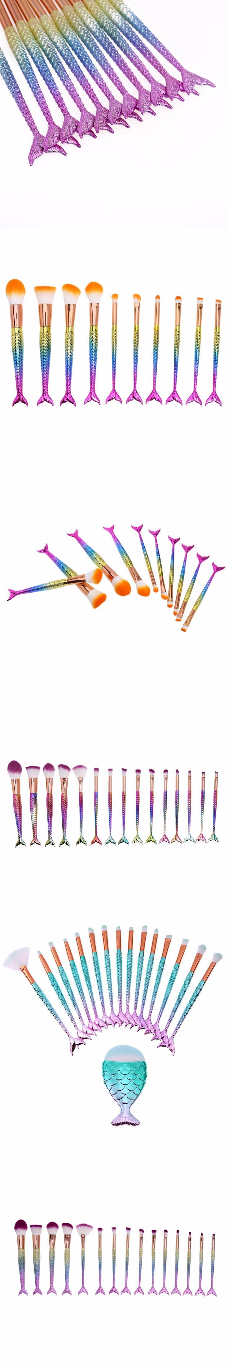 1/4/5/10/15PCS Makeup Brushes Colorful Mermaid Brush Set Foundation Blending Blush Powder Eyeshadow Lip Brush Make up Brushes