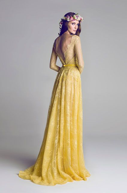 HAMDA AL FAHIM // Spring Summer 2012 Wedding Dress // Lovely cut, shape, and material in this yellow lace wedding dress.