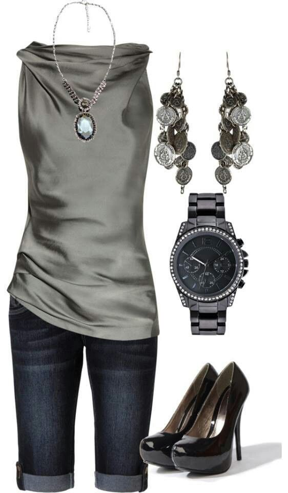 champagne shirt blue jeans capris black shoes