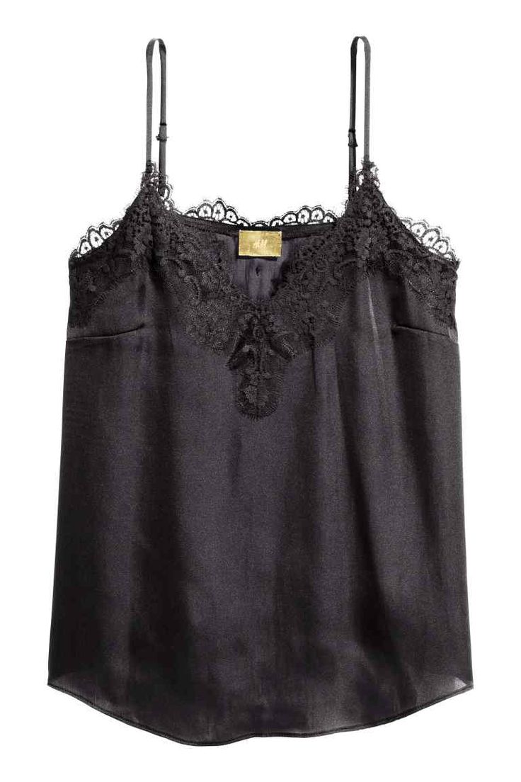 Satin strappy top with lace 24,99 €
