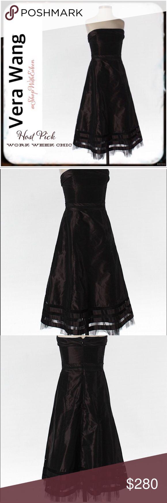 Vera Wang Couture Brown Silk Strapless ALine Dress Vera Wang Lavendar Label Cout… – My Posh Closet