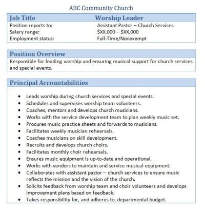 sample church employee job descriptions - Church Administrator Salary