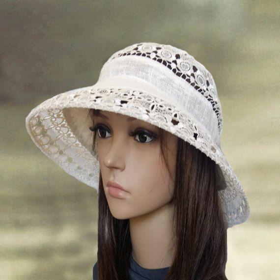 Womens suns hats Floppy summer hats Linen hats by AccessoryArty