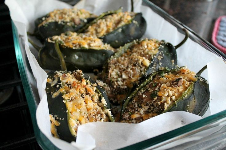 Yeah, these vegetarian stuffed poblano peppers have got me drooling...