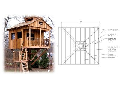 This treehouse plan will show you how to build a 8' hexagonal treehouse plat...