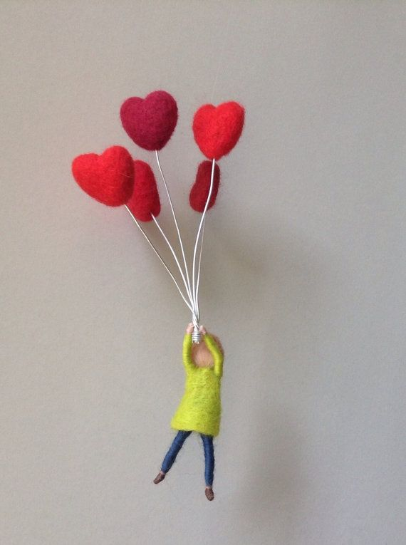 needle felted waldorf mobile boy with balloons. by lovebluecats