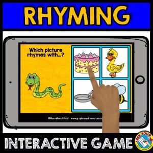 RHYMING GAME (PHONOLOGICAL AWARENESS) RHYMING PICTURES / RHYMING WORDS  A fun rhyming game where children look at the picture, name it and click the picture which rhymes with it.  Keywords: rhyming words, rhyming game, Kindergarten literacy, rhyming pictures, rhyming digital task cards, rhyme time game, phonological awareness