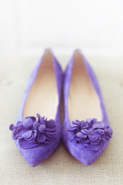 Cute wedding flats in violet   Pinned from http://www.stylemepretty.com/vault/image/608937 via  Deborah Laker Cote   #WeddingShoes #WeddingFlats #VioletWedding