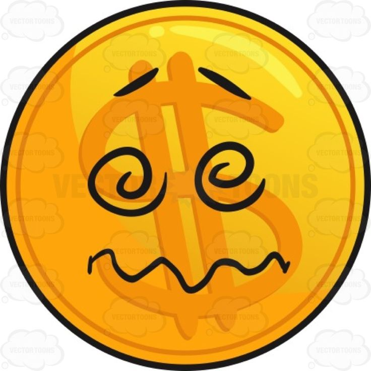 Confused And Perplexed Golden Coin Emoji Cartoon Clipart