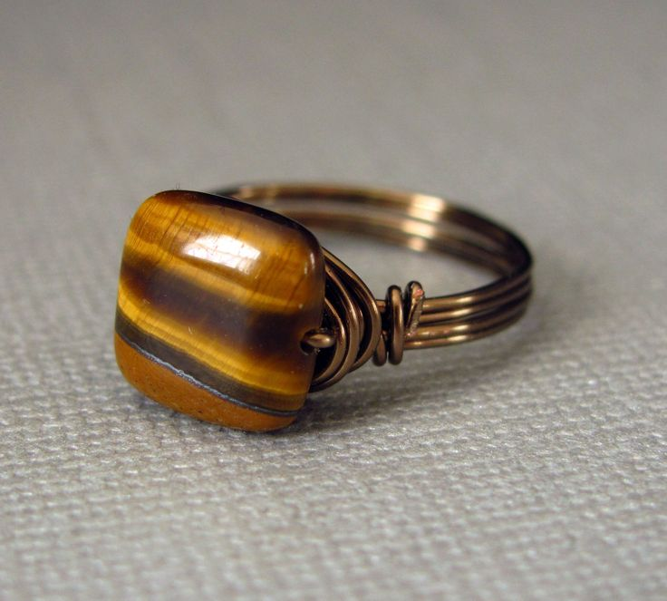 Wire Wrapped Ring Tiger Eye Ring Custom Brass Handmade Jewelry Any Size. $13.00, via Etsy.