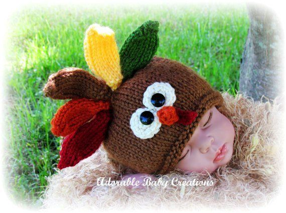 Baby Turkey Hat, Handmade, Knitted, Photo Prop, Fall, Thanksgiving, Birth to 3 Months, Made to Order