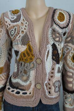 Böhmische Sweater Freeform Crochet Lace Cardigan von levintovich