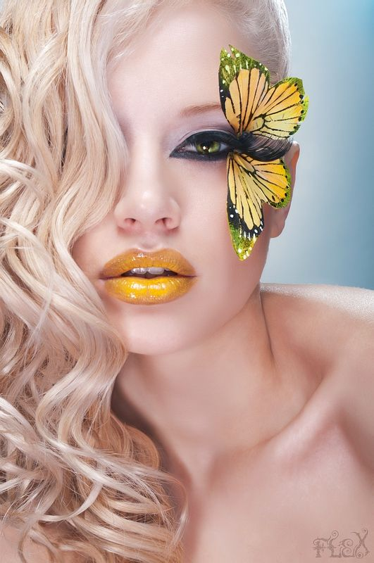 #BORBOLETA  #MARIPOSA , #yellow , #make , #woman