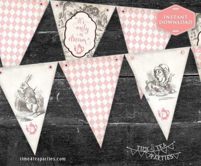 Pink Alice in Wonderland Tea Party Bunting Flags - Bridal Tea - Baby Shower - Kitchen Tea - High Tea - Birthday Tea party. Printable. by Time4TeaParties on Etsy