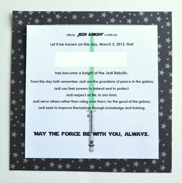 17 best images about star wars birthday party on pinterest for Jedi knight certificate template