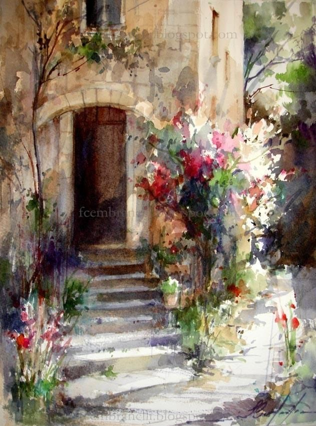 Fabio Cembranelli - Paintings 'Sarlat,' Watercolor 2013