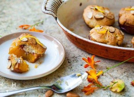 "This is a very easy pudding. It's simple and rustic, it's hot and sweet. Mix up our almond topping, known as a frangipane, spread it over half a peach and roast. The result is individual little puds that look like muffins or mini peach cobblers with soft ""peachy bottoms"". They have a crumbly cake layer in the middle with a smooth, crunchy golden top - ""like an amaretti biscuit"" said our Italian friend Stephanie."