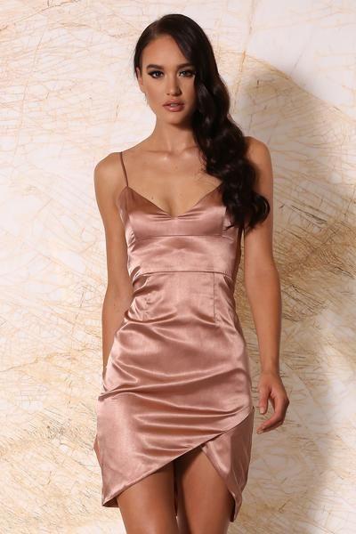 Estella Satin Mini Dress Rose Gold Meshki Satin Mini