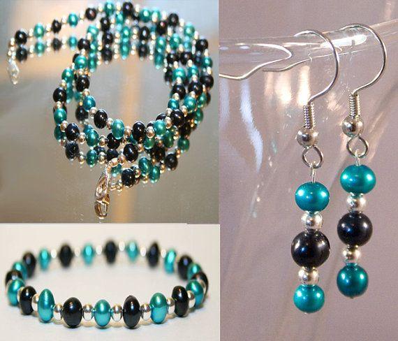 San Jose Sharks Jewelry Jacksonville Jaguars Jewelry Black and Teal Jewelry Freshwater Pearl Jewelry Set